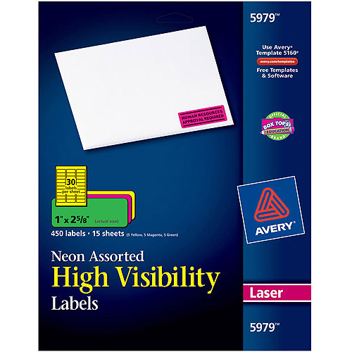 "Avery 450pk High-Visibility Laser Labels 5979, Assorted Neon Colors, 1"" x 2-5/8"""