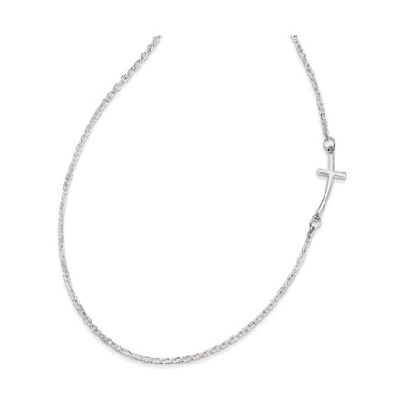 Sterling Silver Small Sideways Curved Cross Necklace - SKU #140377