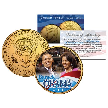 BARACK & MICHELLE OBAMA 2008 JFK Kennedy Half Dollar U.S. Coin 24K Gold