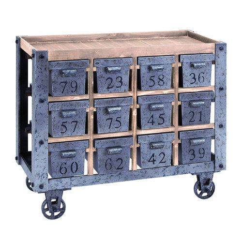 Woodland Imports Kitchen Island with 12 Drawers