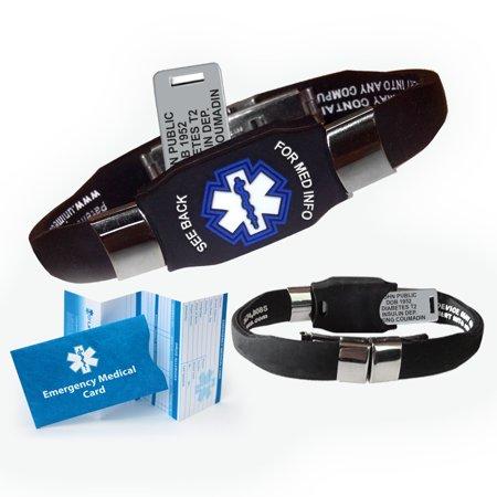 Medical Medical Id Bracelet - ELITE Medical Alert ID Bracelet. Custom Engraved! Waterproof! Choose Color!