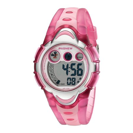 Children Sport Watch LED Digital Display Wrist Watch 30M Water Resistant Watch Color:Pink ()