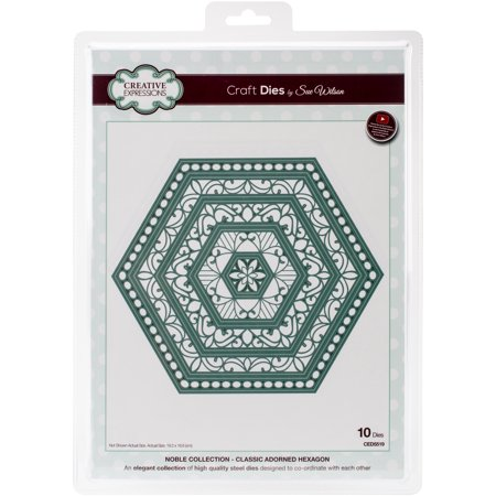 Creative Expressions Craft Dies By Sue Wilson-Noble-Classic Adorned Hexagon 7.56