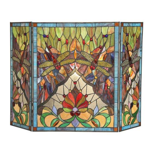 Tiffany Style Dragonfly Design Decorative Fireplace Screen by Overstock