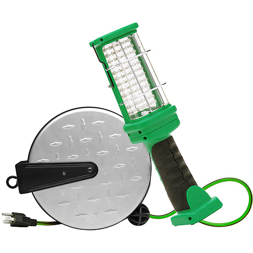 Woods 16/3-Gauge 30' Retractable Cord Reel with 72-LED Work Light, Green