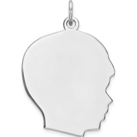 925 Sterling Silver Engraveable Boy Polished Front/Satin Back Disc (20x26mm) Pendant / Charm - image 2 de 2