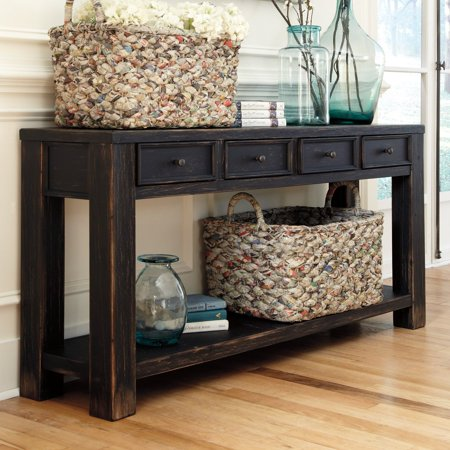 Signature Design By Ashley Gavelston Rectangular Black Sofa Table