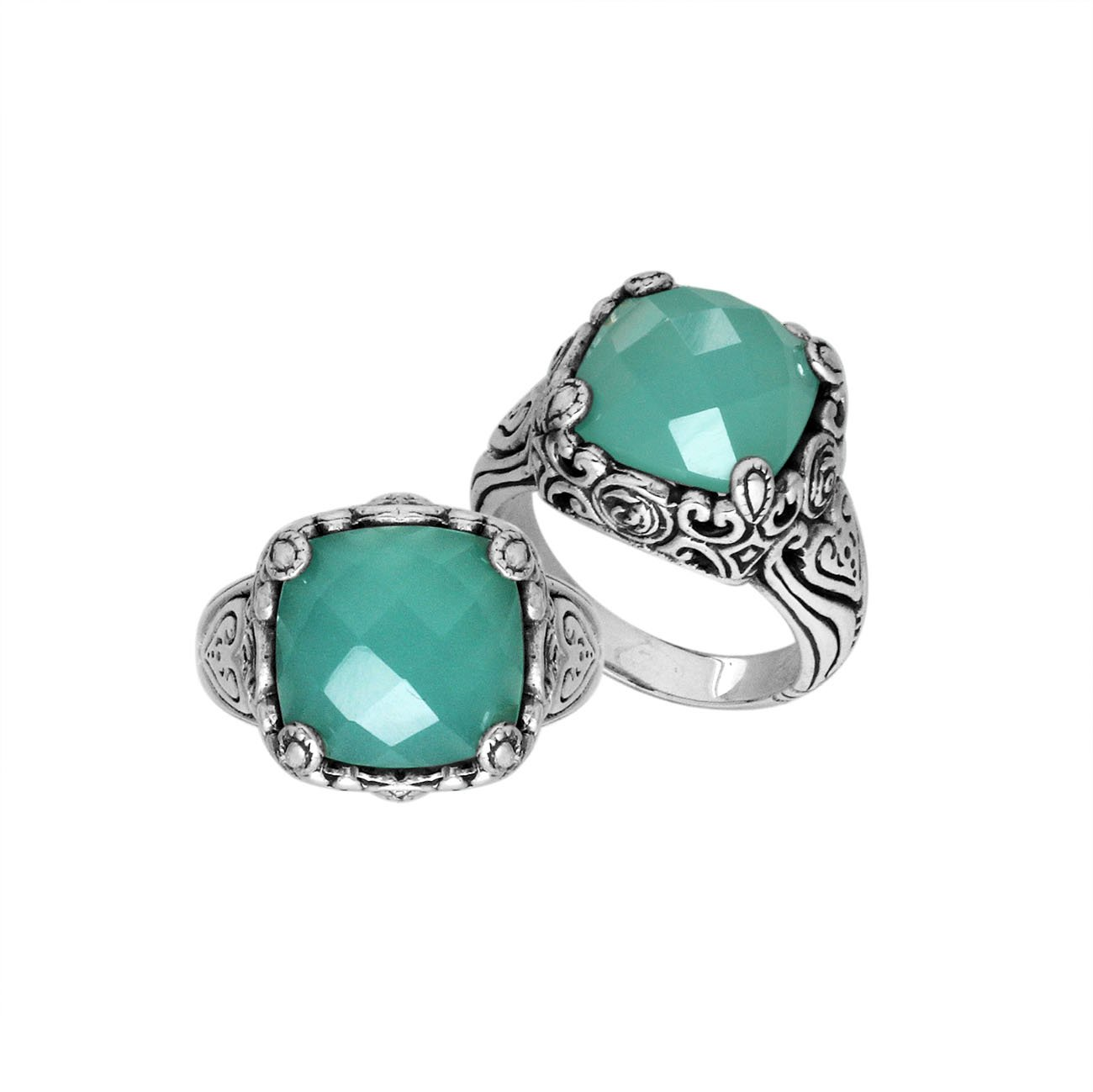 "AR-6227-CH.G-7"" Sterling Silver Ring With Green Chalcedony by Bali Designs"