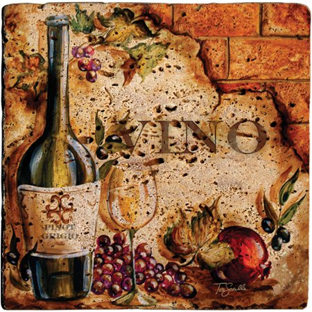 Thirstystone Ambiance Drink Coasters Set, Vino, Travertine