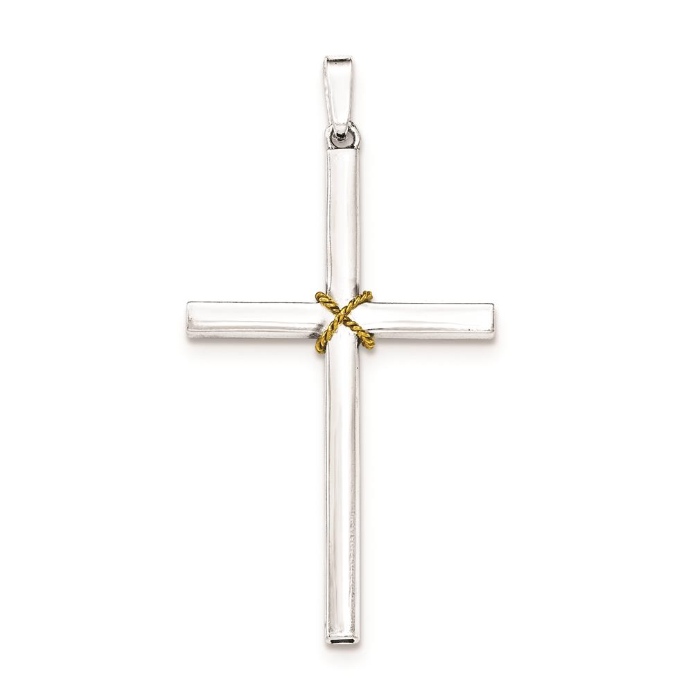 925 Sterling Silver & Gold-Plated Polished Rope Hollow Crucifix Charm Pendant