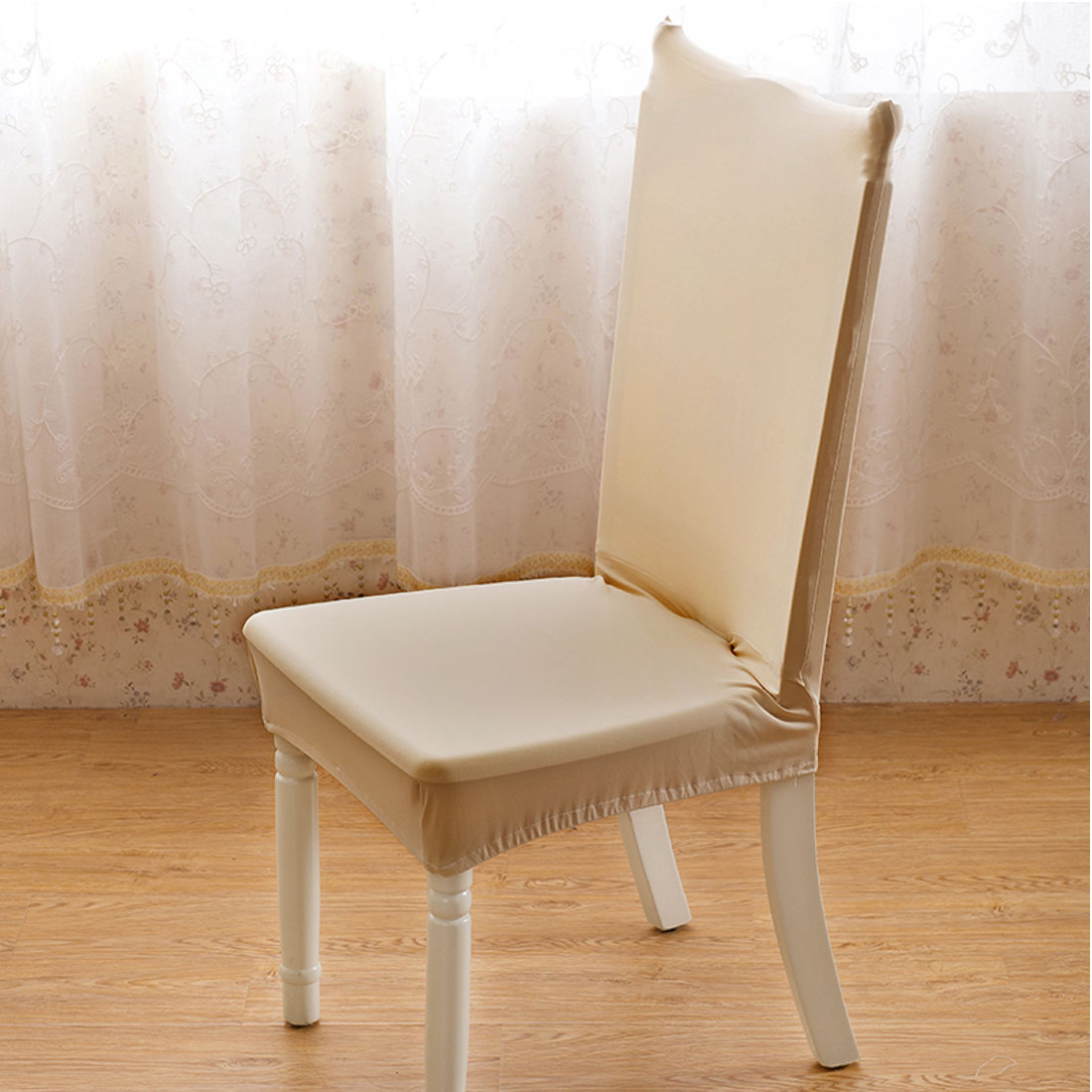 Piccocasa Stretch Dining Room Chair Cover for Shorty Parson Chair Beige