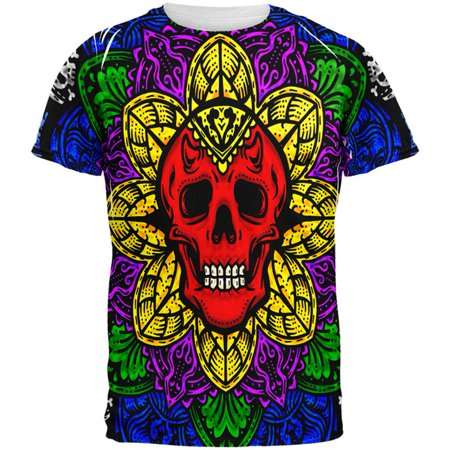 Halloween Demon Skull Mandala All Over Mens T Shirt - Coloriage Mandalas Halloween