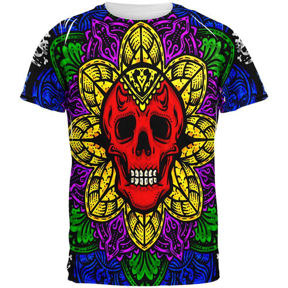 Halloween Demon Skull Mandala All Over Mens T Shirt