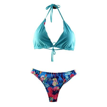 - Neck Halter Padding Bra Triangle Top Bikini Set Swimwear Women Swimsuit