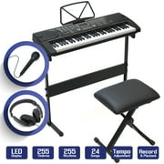 61-Key Electronic Keyboard Piano with Stand, Stool, Headphones and Microphone