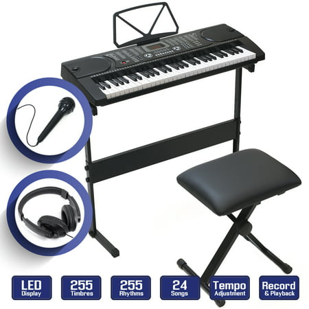 61-Key Electronic Keyboard Piano with Stand, Stool, Headphones & Microphone (Paper Piano Keyboard)