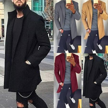 Fashion Men's Wool Coat Winter Trench Coat Outwear Overcoat Long Sleeve Jacket (Trench Coats For Kids)