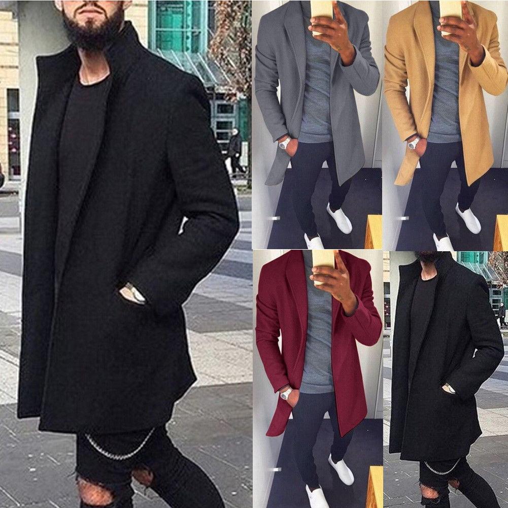 Fashion Men's Wool Coat Winter Trench Coat Outwear Overcoat Long Sleeve Jacket