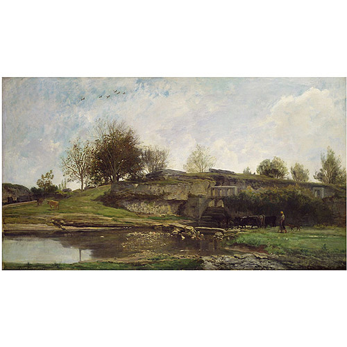 "Trademark Fine Art ""The Lock at Optevoz 1855"" Canvas Art by Charles Daubigny"