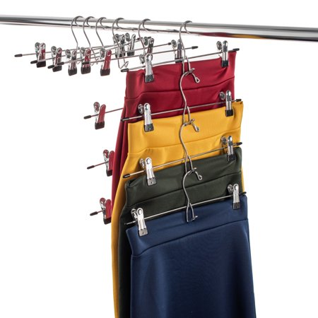 Heavy-Duty Add-On Skirt Hangers with Clips 12 Pack, Multi Stackable Add on Hangers, Adjustable Clip Pants Hanger, Skirt Hanger with Clips, Chrome Hook, Cascading Clip Hanger Jeans, Slacks, Bottoms Narrow Bottom Ape Hangers