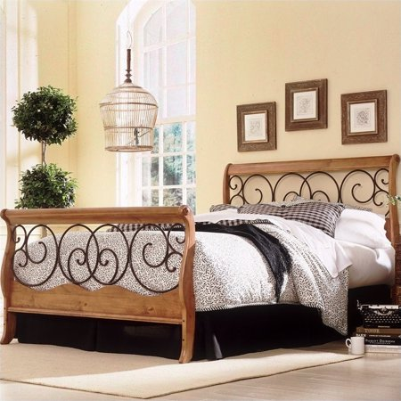 Fashion Bed Dunhill Sleigh Bed in Honey Oak with Autumn Brown Finish-California King