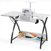 Costway Sewing Craft Table Computer Desk with Adjustable Platform Folding Side Shelf