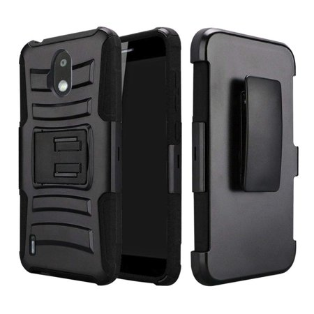 Compatible for Nokia 3.1C 3.1A Case, with [Tempered Glass Screen Protector] SOGA Belt Clip Holster Heavy Duty Defender Armor Shockproof Phone Cover (Black) (Nokia 830 Case Holster)