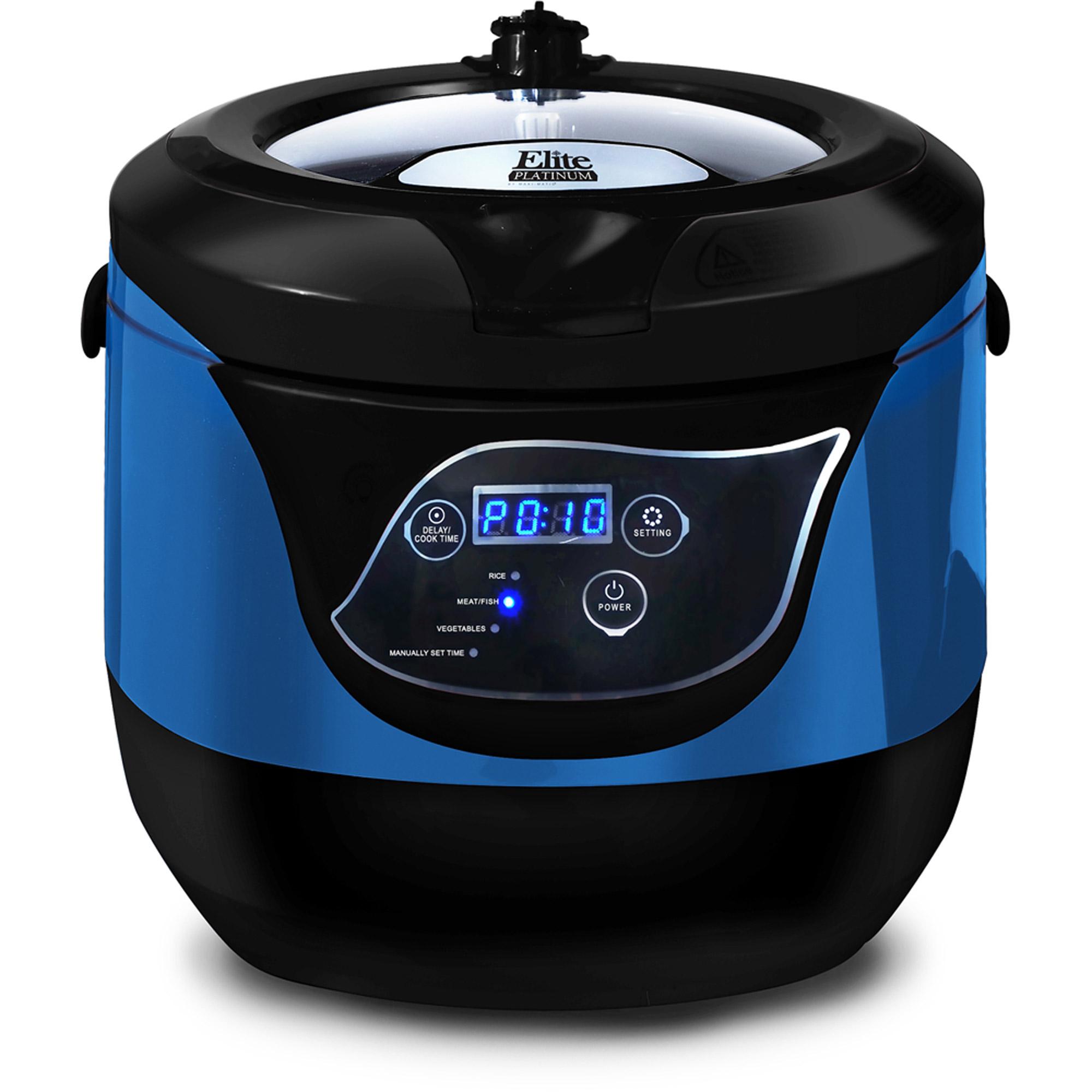 Elite Platinum EPCM-55BL 5.5 qt Smart n Healthy Low Pressure Multi-Cooker, Blue