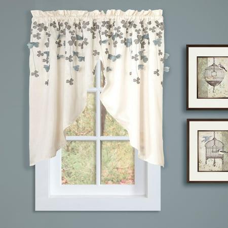 Lush Decor Flower Drops Kitchen Swags Curtain Pair