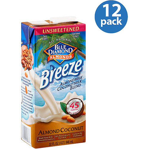 Blue Diamond Almond Breeze Unsweetened Almondmilk Coconutmilk Blend, 32 oz, (Pack of 12)