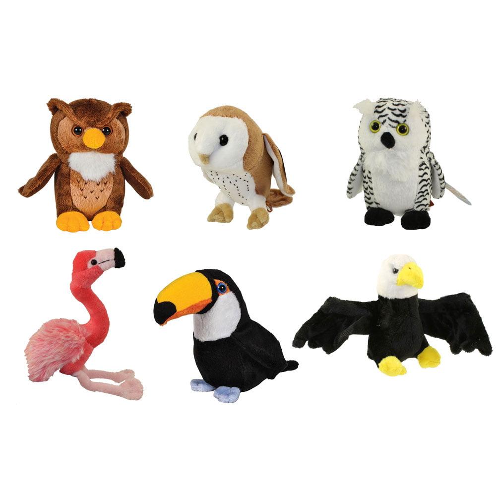Adventure Planet Plush Pounce Pals Set Of 6 Birds 3 Owls Eagle