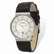 Mia Diamonds Mens Chisel Stainless Steel White Dial Black Leather Watch