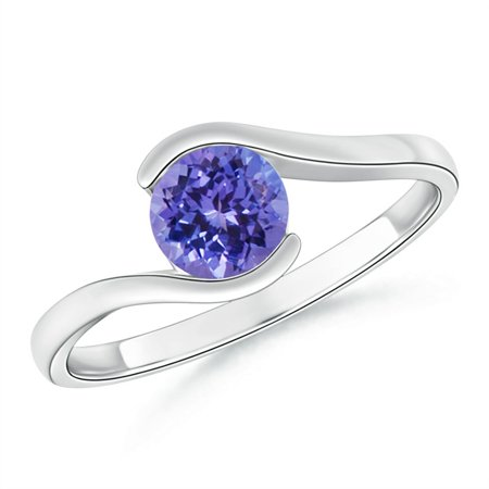 December Birthstone Ring - Semi Bezel-Set Solitaire Round Tanzanite Bypass Ring in 14K White Gold (6mm Tanzanite) - SR0427T-WG-AA-6-9