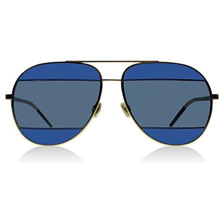 Dior 000KU Rose Gold / Blue DiorSplit2 Aviator Sunglasses Lens Category 3 ()