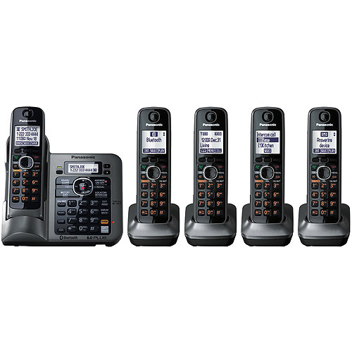 """""""Panasonic KX-TG7645M DECT 6.0 Plus Expandable Phone in Metallic Gray with Talking Caller ID, Answering System and Bluetooth Connectivity - 5 Handset Pack"""""""