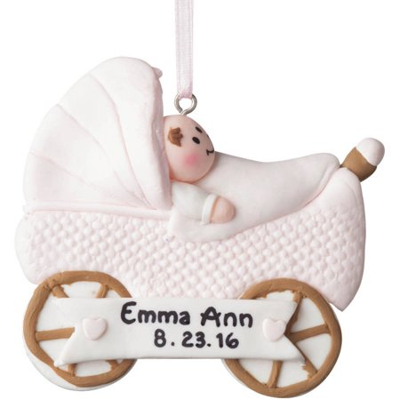 Personalized Christmas Ornament - Pink New Baby Buggy