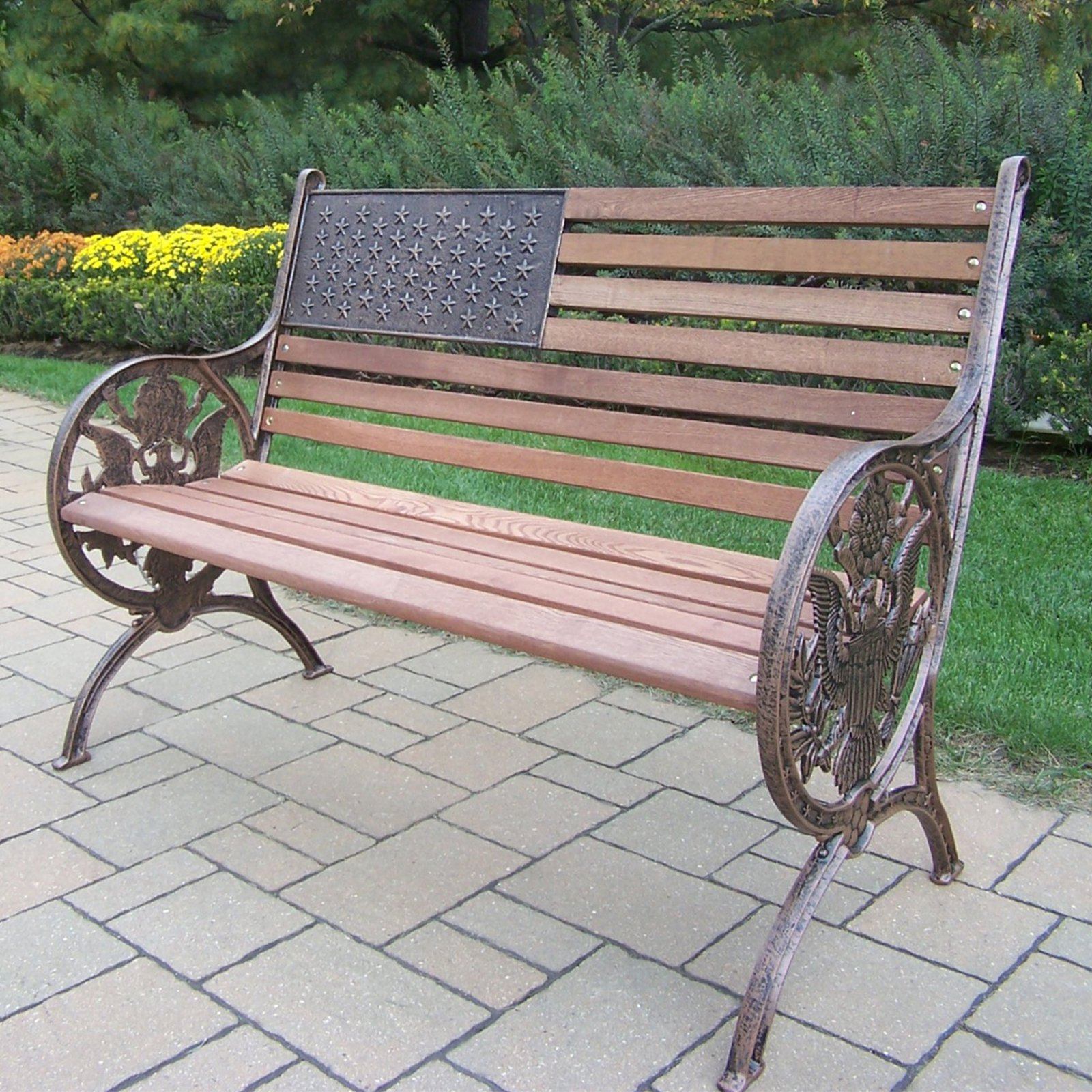 Oakland Living Proud American Old Glory Flag Cast Iron And Wood Bench    Walmart.com
