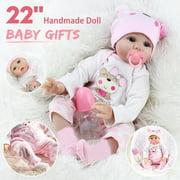 22'' Lifelike Newborn Reborn Babies Silicone Vinyl Real Life Reborn Baby Girl/Boy Dolls Handmade Doll for Toddler Gifts