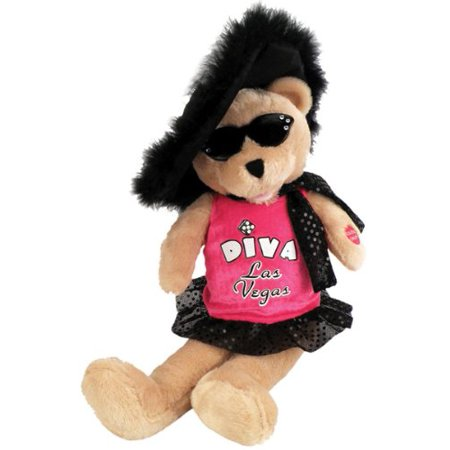 "Chantilly Lane Diva Las Vegas Bear Sings ""Viva Las Vegas"" 17"" Plush"