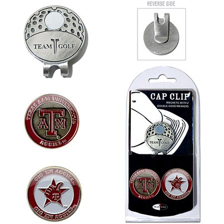 Team Golf NCAA Texas A And M Cap Clip With 2 Golf Ball Markers
