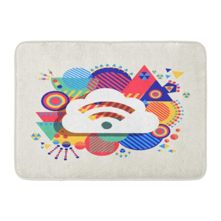 GODPOK Fun RSS Feed Cloud Computing Design with Colorful Vibrant Geometry Shapes Social Media Concept Abstract Rug Doormat Bath Mat 23.6x15.7