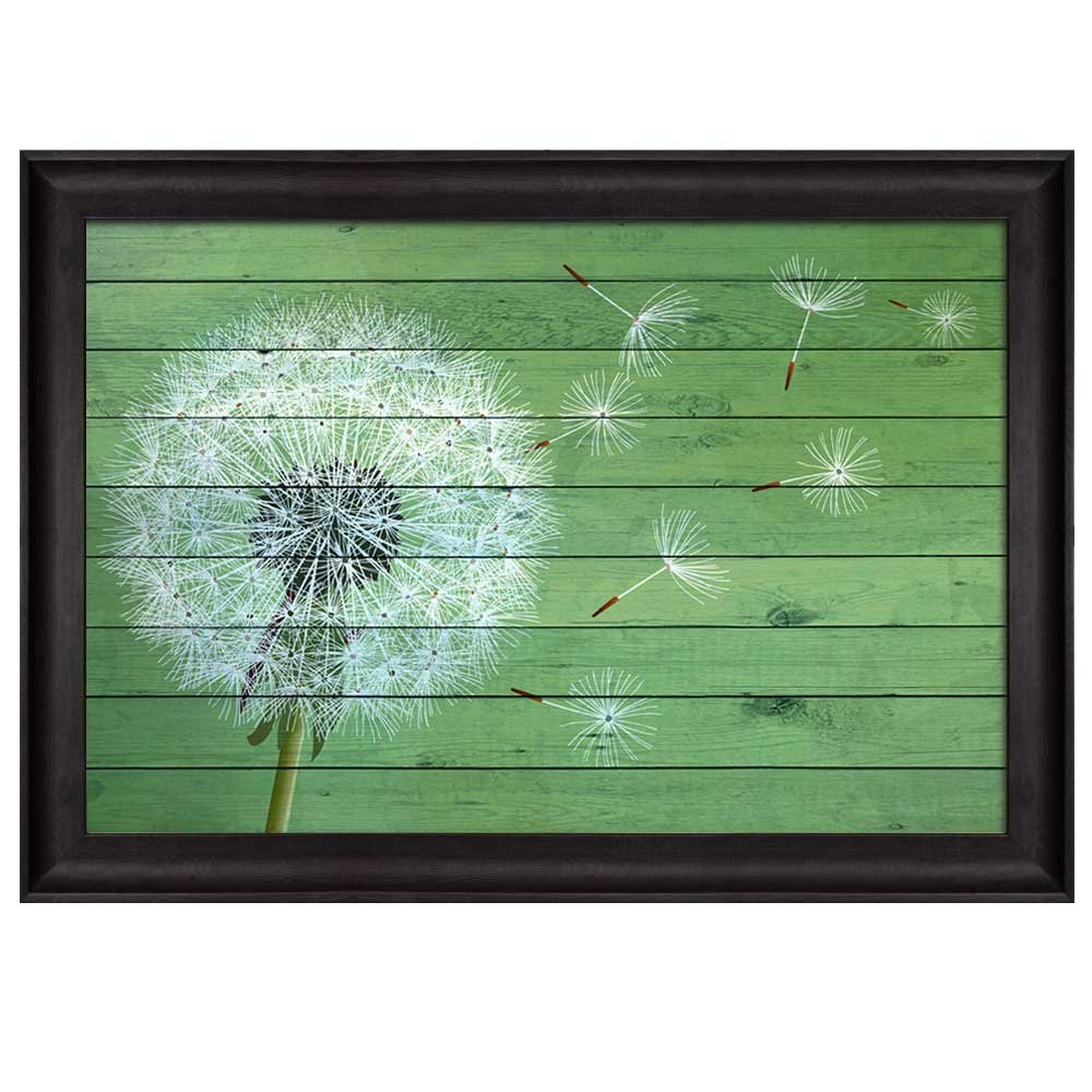 wall26 - Dandelion Being Blown Away Over Green Wood Panels - Nature - Framed Art Prints, Home Decor - 16x24 inches