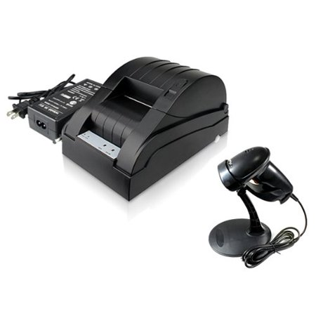 2xhome - 58mm POS Line Thermal Dot Receipt Printer and USB Automatic Barcode Scanner with Hands Free Adjustable (Codec Stand)