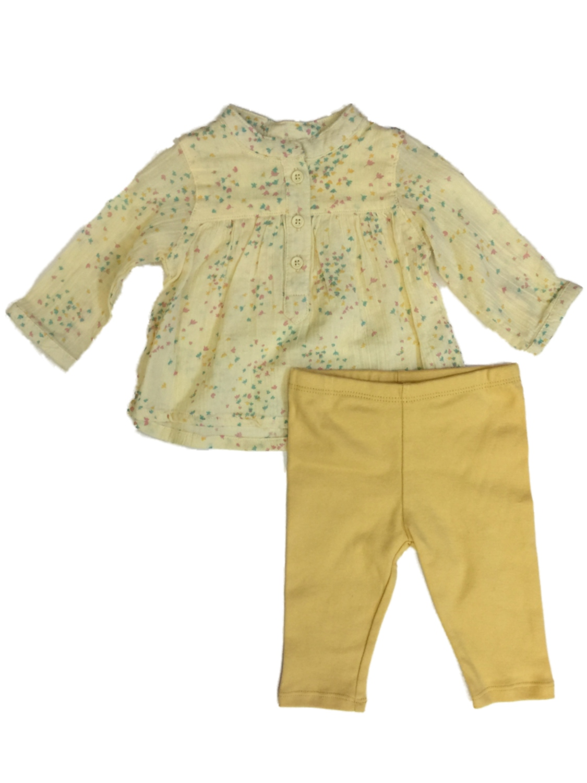 Mustard and Cream Striped Baby Leggings