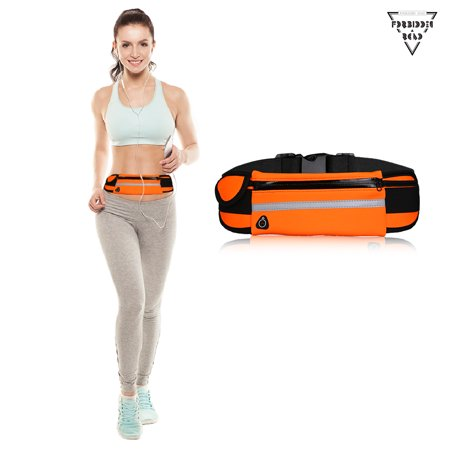 Forbidden Road Sport Running Belt (5 Color,3 Pockets) Water Resistant Fanny Pack Fitness Gear Running Waist Pack/Bag for iPhone 7/6s/6 Plus and Samsung Phone Smartphone Accessory (Orange/M)