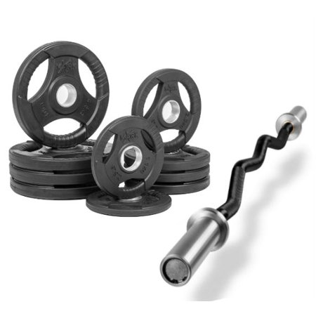 Combo Offer Xmark Fitness Olympic Ez Curl Excercise Bar Xm 3677 Black With Premium Quality Rubber Coated Tri Grip Olympic Plate Weight Package Xm 3377 Bal 65