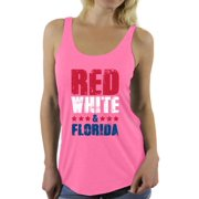 Awkward Styles Red White & Florida Racerback Tank Top for Women Florida Tanks 4th of July Sleeveless Shirt Women's America Flag Top USA Women's Tank Top American Women Gifts from Florida Patriots Tank