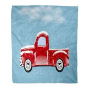 ASHLEIGH 58x80 inch Super Soft Throw Blanket Red Truck Car Under Snow Christmas Tree Old Pickup Antique Pick Holiday Home Decorative Flannel Velvet Plush Blanket