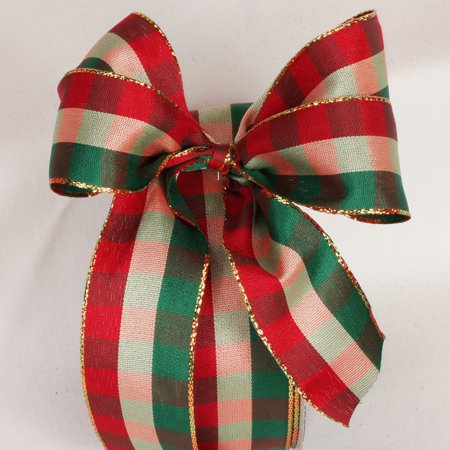 Cherry Red, Pine Green and Gold Checkered Wired Craft Ribbon 1.5