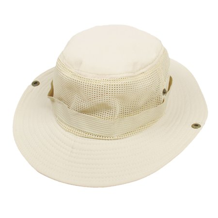 Unique bargains wide full brim beige mesh press stud for Fishing hats walmart